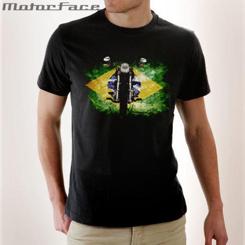 Camiseta BLACK moto Brasil Flag